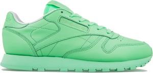 Zielone buty sportowe Reebok sznurowane z płaską podeszwą ze skóry