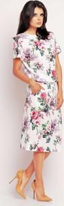 Sukienka Awama prosta midi z okrągłym dekoltem