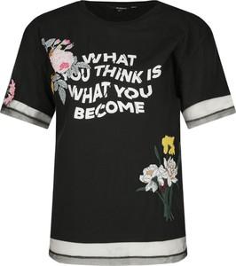 T-shirt Desigual w młodzieżowym stylu z okrągłym dekoltem