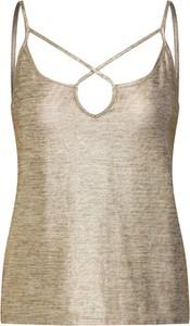 Złota bluzka Noisy May w stylu casual ze sznurowanym dekoltem