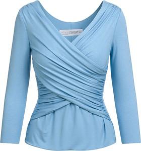 Niebieska bluzka RISK made in warsaw z dekoltem w kształcie litery v