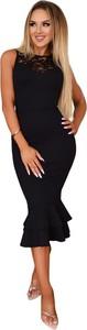 Czarna sukienka Catwalk bez rękawów midi z okrągłym dekoltem