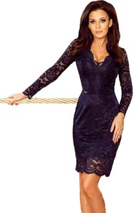 Granatowa sukienka Moda Dla Ciebie z długim rękawem z dekoltem w kształcie litery v ołówkowa