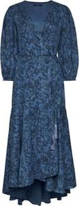 Sukienka Guess kopertowa midi z długim rękawem