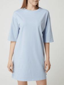 Niebieska sukienka Esprit z bawełny mini z okrągłym dekoltem