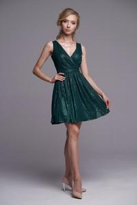Zielona sukienka Ella Boutique bez rękawów z dekoltem w kształcie litery v