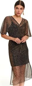 Czarna sukienka Top Secret z dekoltem w kształcie litery v w stylu casual midi