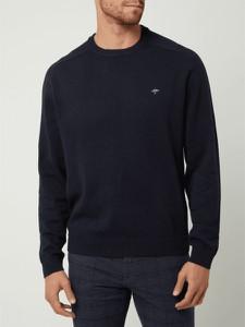 Granatowy sweter Fynch Hatton z okrągłym dekoltem z bawełny