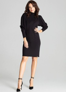 Czarna sukienka LENITIF z golfem z długim rękawem mini