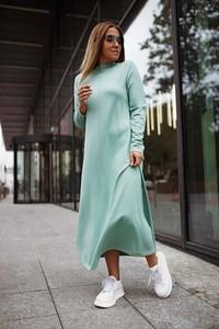 Turkusowa sukienka Bastet Fashion w stylu casual z długim rękawem midi