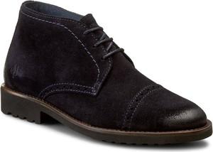 Czarne buty zimowe Marc O'Polo z zamszu sznurowane