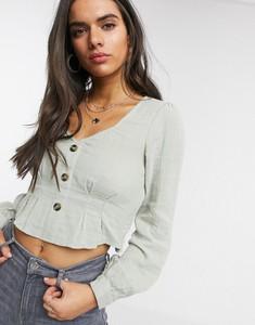 Bluzka Vero Moda z lnu z długim rękawem