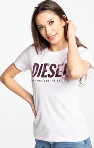 T-shirt Diesel w młodzieżowym stylu z okrągłym dekoltem z krótkim rękawem