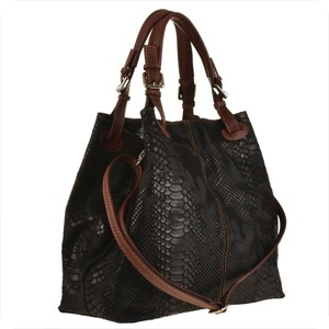 Czarna torebka GENUINE LEATHER w stylu glamour