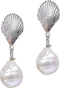 Braccatta MARINA kolczyki srebrne wiszące duże białe perły barokowe sztyft