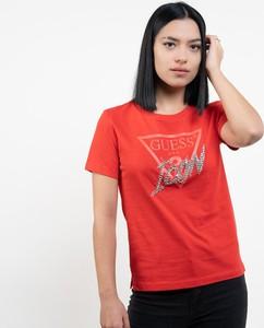 Czerwony t-shirt Guess z okrągłym dekoltem z bawełny z krótkim rękawem