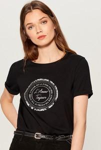 Czarny t-shirt Mohito z krótkim rękawem w młodzieżowym stylu