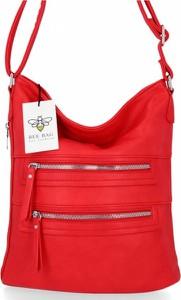 Czerwona torebka Bee Bag w stylu glamour na ramię ze skóry ekologicznej