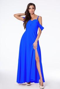 Niebieska sukienka Marconifashion gorsetowa maxi