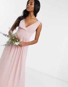 Różowa sukienka Tfnc z szyfonu maxi na ramiączkach