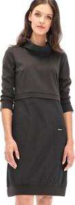 Czarna sukienka Anita Design mini z długim rękawem z golfem
