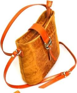 Pomarańczowa torebka Vera Pelle w stylu boho ze skóry