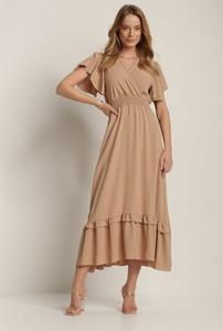 Brązowa sukienka Renee maxi trapezowa
