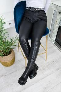 Czarne spodnie Olika ze skóry