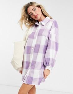 Fioletowa sukienka Asos koszulowa w stylu casual z plaru