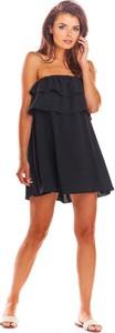 Czarna sukienka Awama bez rękawów w stylu casual gorsetowa