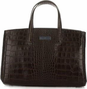 Klasyczne torebki skórzane typu kuferek firmy vittoria gotti czekoladowe