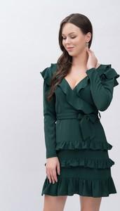 Sukienka Justmelove z dekoltem w kształcie litery v mini z długim rękawem