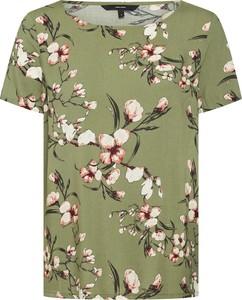 Zielona bluzka Vero Moda z krótkim rękawem w stylu casual z okrągłym dekoltem