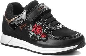 Czarne buty sportowe dziecięce Geox z zamszu