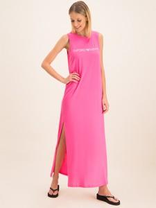 Różowa sukienka Emporio Armani z okrągłym dekoltem maxi prosta