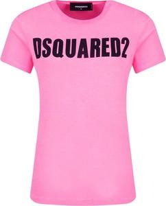 Różowy t-shirt Dsquared2 z krótkim rękawem z okrągłym dekoltem