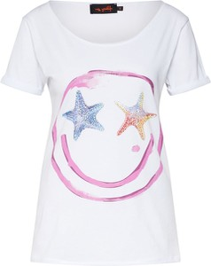 Bluzka miss goodlife z krótkim rękawem w stylu casual z okrągłym dekoltem