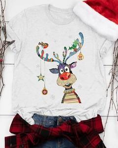 Bluzka Kendallme z okrągłym dekoltem w bożonarodzeniowy wzór