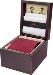 Zestaw ślubny dla mężczyzny klasyczny w kolorze bordowym: krawat + poszetka + spinki zapakowane w pudełko EM 30
