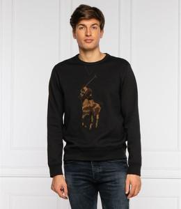 Czarna bluza POLO RALPH LAUREN z nadrukiem z wełny w młodzieżowym stylu