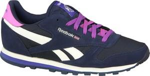 Niebieskie buty sportowe Reebok sznurowane z płaską podeszwą