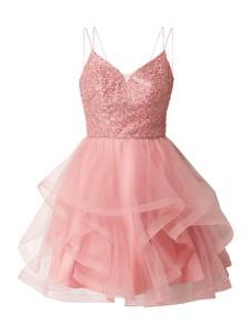 Różowa sukienka Laona rozkloszowana z tiulu