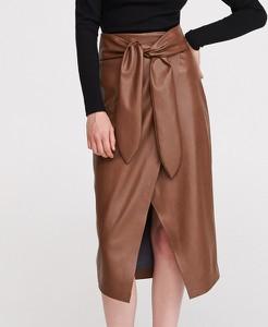 Brązowa spódnica Reserved ze skóry midi