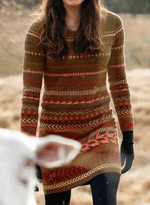 Brązowa sukienka Cikelly w stylu casual z długim rękawem ołówkowa