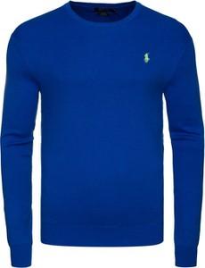 Niebieski sweter Ralph Lauren z bawełny z okrągłym dekoltem