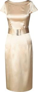 Złota sukienka Fokus midi z okrągłym dekoltem