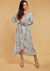 Sukienka Ooh la la z długim rękawem w stylu casual asymetryczna