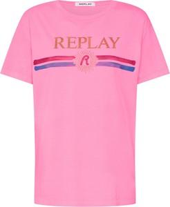 Bluzka Replay z krótkim rękawem z dżerseju