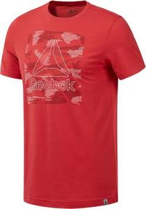 Czerwony t-shirt Reebok Fitness z bawełny z krótkim rękawem