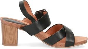 Sandały Caprice na średnim obcasie na obcasie ze skóry